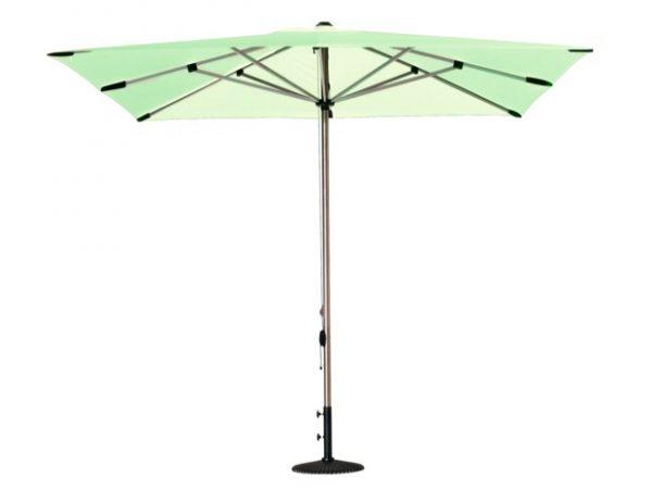 Parasol droit flores vert menthe